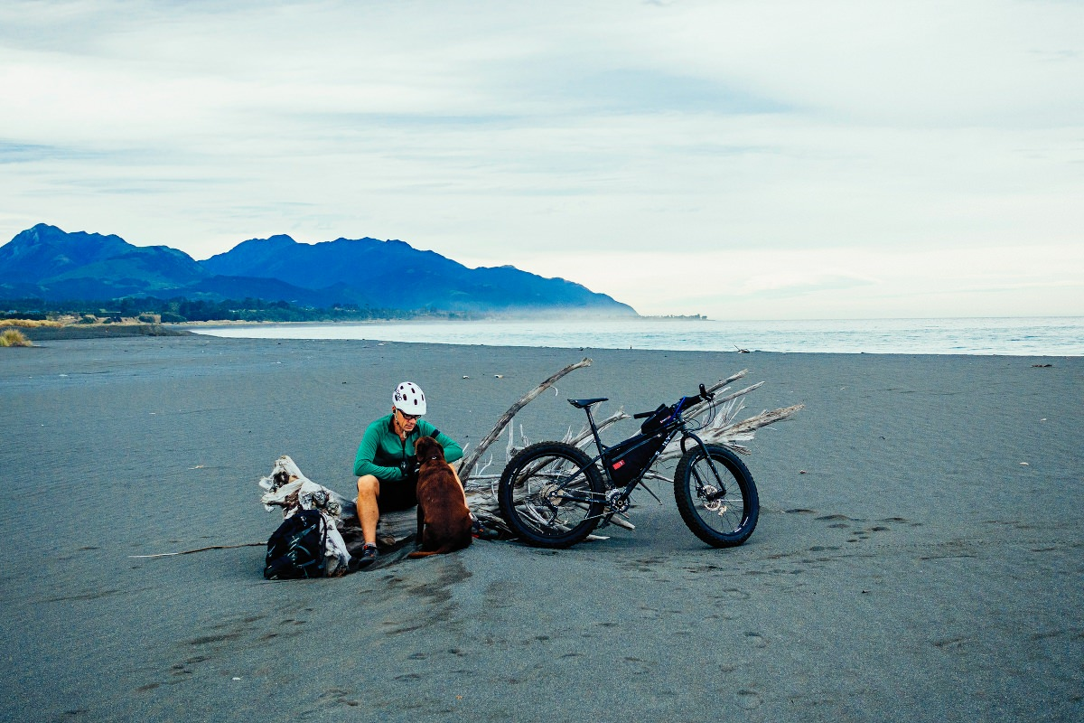 Beach biking at Kaikoura